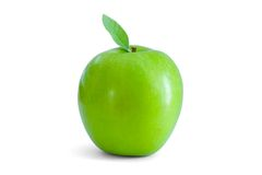 Green apple with green leaf royalty free stock photography