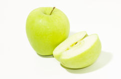Green apple and half Stock Photos