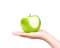 Green apple on hand isolated Stock Photo
