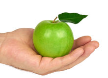 Green Apple in Hand Royalty Free Stock Photo