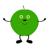 Green apple with hands, legs and eyes Royalty Free Stock Photos