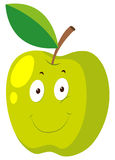 Green apple with happy face Royalty Free Stock Image