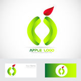 Green apple healthy food logo Royalty Free Stock Photos