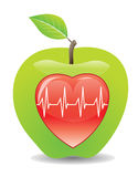 Green apple for a healthy heart, illustration Royalty Free Stock Images