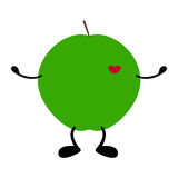 Green apple with heart, hands and legs Stock Photo