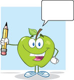 Green Apple Holding Up A Pencil With Speech Bubble Royalty Free Stock Images