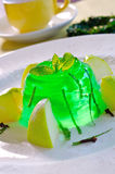 Green apple jelly. Sweet dessert - green apple jelly Royalty Free Stock Photography