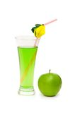 Green apple and juice isolated. On the white Stock Image
