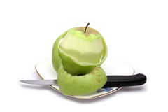 Green apple and knife Stock Photo
