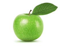 Green apple with leaf stock photos