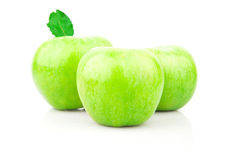 Green apple with leaf Royalty Free Stock Photography
