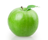 Green apple with leaf Royalty Free Stock Photos