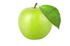 Green apple with leaf isolated on white background Stock Images