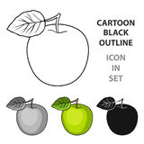 Green Apple with leaf.Proper diet for diabetes.Diabetes single icon in cartoon style vector symbol stock illustration. Royalty Free Stock Photography