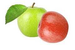 Green apple with leaf and red apple isolated on white background Royalty Free Stock Photo