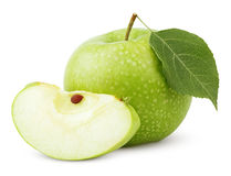 Green apple with leaf and slice isolated on a white Stock Image