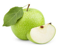 Green apple with leaf and slice isolated on a white Royalty Free Stock Photos