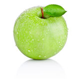 Green apple with leaf in water drops isolated on white Stock Image