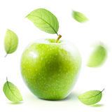 Green Apple and leafe isolated with clipping path Stock Photo