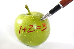 Apple concept. Green apple lern health concept photo Royalty Free Stock Photo