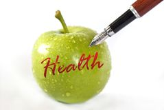 Apple concept. Green apple lern health concept photo Royalty Free Stock Image
