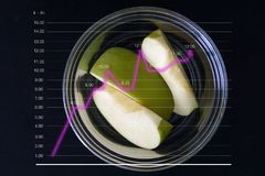 Green apple. The line graph shows an increase in dietary food consumption. The concept of healthy living with diet food. Vegan food fruit vegetarian isolated royalty free stock photos