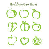 Green apple logo set in grunge style isolated on white background. Stock Photo