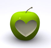 Green apple with love. 3d render vector illustration