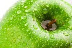 Green apple macro in selective focus Stock Photos