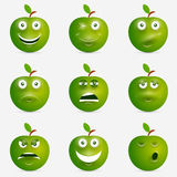 Green apple with many expressions Royalty Free Stock Image