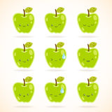 Green apple with many expressions Stock Image