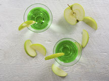 Green Apple Martini Cocktail in Overhead View Stock Photo