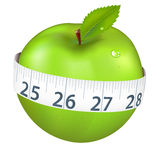 Green Apple With Measurement. Isolated On White Background, Vector Illustration Royalty Free Stock Photography