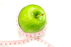 Green apple with measurement Stock Photos