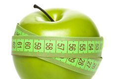 Green apple with measurement Royalty Free Stock Photography