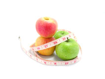 Green apple and measuring tape Stock Photo