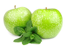 Green apple with mint leaf Royalty Free Stock Images