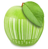 Green apple with bar-code Stock Photos