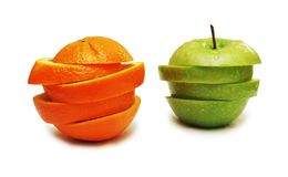 Green apple and orange isolated on white Stock Images