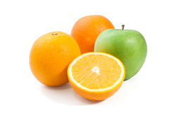 Green Apple and orange  isolated on a white background. Orange  green apple on white background Royalty Free Stock Photos