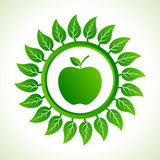 Green apple organic food with leaf Stock Photos