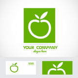Green apple organic logo. Vector company logo element template green apple organic bio health concept Royalty Free Stock Photo