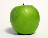 Green Apple Over White Stock Photo