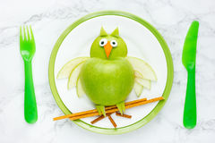 Green apple owl for healthy meal Royalty Free Stock Photo
