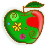 Green Apple Paint Doodle Royalty Free Stock Photo