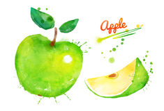 Green apple with paint splashes. Hand drawn watercolor illustration of green apple with paint splashes Royalty Free Stock Image