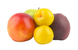 Green apple peach nectarine plums Stock Image