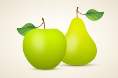 Green apple and pear Stock Photo