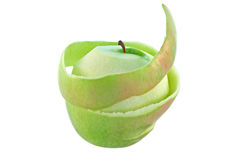 Green apple with peel Royalty Free Stock Image