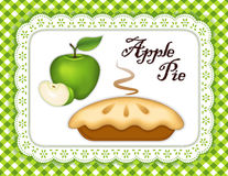 Green Apple Pie, Lace Doily Place Mat, Green Check. Traditional fresh baked Green Apple Pie, isolated on white eyelet lace doily place mat. Green gingham check Stock Photography